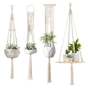 4 Pcs Macrame Hanging Plant Shelf Indoor Wall